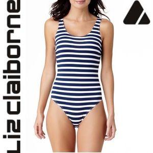 Liz Claiborne Blue and White Striped one piece